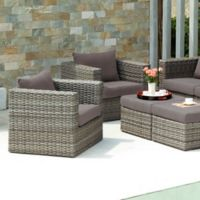 Southern Enterprises Bristow 4-Piece Outdoor Chair and Ottoman Set in Grey
