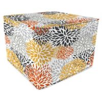 Jordan Manufacturing Bloom Citrus Outdoor Square Pouf Ottoman in Red