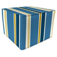 Jordan Manufacturing Heatwave Stripe Outdoor Square Pouf Ottoman in Cobalt
