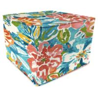 Jordan Manufacturing Sunriver Sky Outdoor Square Pouf Ottoman in Blue