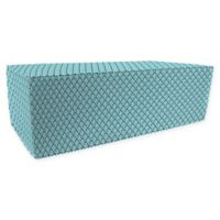 Jordan Manufacturing Lalo Oxford Outdoor Rectangle Pouf Ottoman in Turquoise
