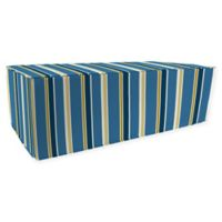 Jordan Manufacturing Heatwave Stripe Outdoor Rectangle Pouf Ottoman in Cobalt