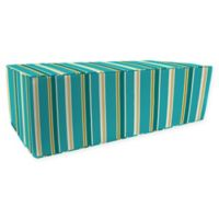 Jordan Manufacturing Heatwave Stripe Outdoor Rectangle Pouf Ottoman in Turquoise