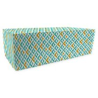 Jordan Manufacturing Tropez Outdoor Rectangle Pouf Ottoman in Turquoise