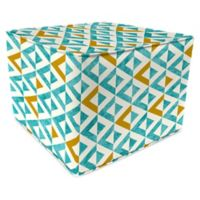 Jordan Manufacturing Tropez Outdoor Square Pouf Ottoman in Turquoise