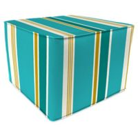 Jordan Manufacturing Heatwave Stripe Outdoor Square Pouf Ottoman in Turquoise
