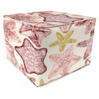 Jordan Manufacturing Seabiscuit Outdoor Square Pouf Ottoman in Coral