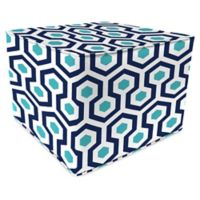 Jordan Manufacturing Magna Oxford Outdoor Square Pouf Ottoman in Turquoise