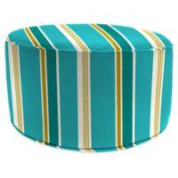 Jordan Manufacturing Heatwave Stripe 24-Inch Round Pouf Ottoman in Turquoise