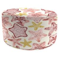 Jordan Manufacturing Seabiscuit 24-Inch Round Pouf Ottoman in Coral
