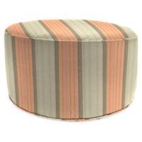 Stripe Outdoor 24-Inch Round Pouf Ottoman in Sunbrella® Cove Cameo