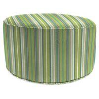 Stripe Outdoor 24-Inch Round Pouf Ottoman in Sunbrella® Foster Surfside
