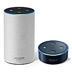 Amazon Echo (2nd Generation) in Sandstone with Echo Dot in Black