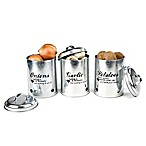 Mind Reader 3-Piece Garlic, Onions, Potatoes Cannister Set in Silver