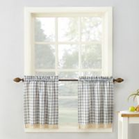No. 918 Maisie Plaid 24-Inch Rod Pocket Kitchen Curtain Tier Pair in Navy