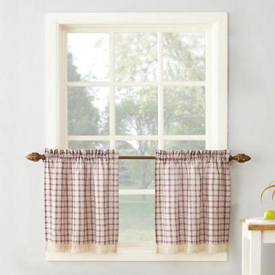 918 Maisie Plaid 36 Inch Rod Pocket Kitchen Curtain Tier Pair In Ruby