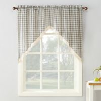 No. 918 Maisie Plaid 38-Inch Rod Pocket Window Curtain Swag Pair in Grey