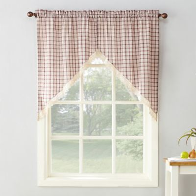 918 Maisie Plaid 38 Inch Rod Pocket Window Curtain Swag Pair In Ruby