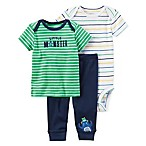 "carter's® Preemie 3-Piece ""Little Monster"" Shirt, Pant, and Bodysuit Set in Blue/Green"