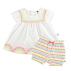 Just Born® Forever Cool Size 3M 2-Piece Rainbow Dress and Diaper Cover Set
