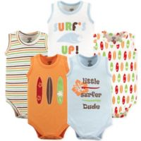 Luvable Friends® Size 9-12M 5-Pack Surfer Sleeveless Bodysuits
