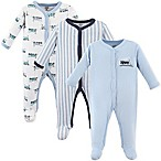 Luvable Friends® Size 6-9M 3-Pack Trains Sleep N Play Footies in Light Blue/Navy