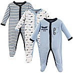 Luvable Friends® Size 0-3M 3-Pack Airplane Sleep N' Play Footies in Blue