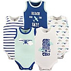 Luvable Friends® Size 0-3M 5-Pack Airplane Sleeveless Bodysuits in Blue