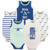 Luvable Friends® Size 18-24M 5-Pack Airplane Sleeveless Bodysuits in Blue