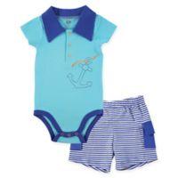 BabyVision® Hudson Baby® 2-Piece Anchor Bodysuit and Cargo Short Set in Blue