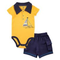 BabyVision® Hudson Baby® 2-Piece Anchor Bodysuit and Cargo Short Set in Yellow