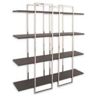 Uma Rectangular Black Leather and Metal 4-Tier Shelf
