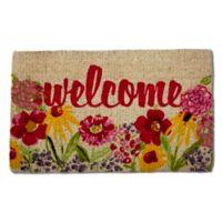 """Flower Welcome 18"""" x 30"""" Coir Multicolor Door Mat"""