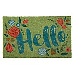 "Flower Hello 18"" x 30"" Coir Multicolor Door Mat"