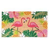 Flamingos 18-Inch x 30-Inch Multicolor Coir Door Mat
