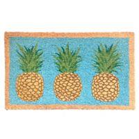 Glitter Pineapples 18-Inch x 30-Inch Multicolor Coir Door Mat