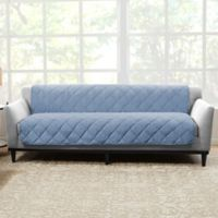 Sure Fit® Brushed Faux Linen Sofa Protector in Chambray
