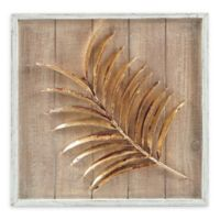 Madison Park Left Facing Fern Leaf Metal/Wood Wall Art in Brown/Gold