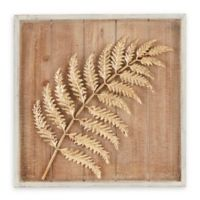 Madison Park Right Facing Fern Leaf Metal/Wood Wall Art in Brown/Gold