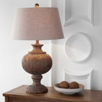 """JONATHAN Y Scarlett 31"""" Resin Table Lamp in Dark Brown with Gray Shade"""