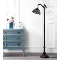 "JONATHAN Y Dragonfly Tiffany-Style 60"" Arched Floor Lamp in Bronze"