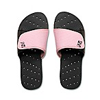 Women's Medium Heart AquaFlops Shower Shoes in Black/Pink
