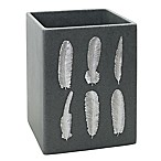 India Ink™ Feather Resin Waste Basket in Grey Sand