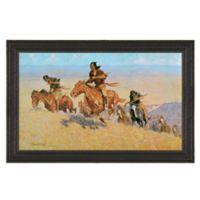 """Buffalo Runners Big Horn"" 16.5-Inch x 12.5-Inch Framed Canvas Replica Wall Art"