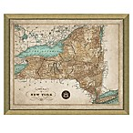 Map of New York 28-Inch x 34-Inch Framed Wall Art