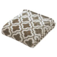 Brielle Quatrefoil Fleece Throw Blanket in Brown