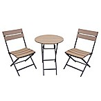 Metro 3-Piece Folding Outdoor Bistro Set in Brown