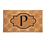 "Evergreen Embossed Flocked Monogram Letter ""P"" Door Mat Insert in Black"