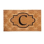 "Evergreen Embossed Flocked Monogram Letter ""C"" Door Mat Insert in Black"