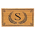 "Evergreen Laurel Leaves Flocked Monogram Letter ""S"" Door Mat Insert in Black"
